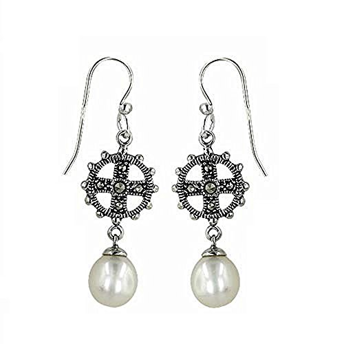 - Tisoro 925 Solid Sterling Silver Marcasite Dangling Cross Freshwater Pearl Earrings - Dangle Cross Jewelry