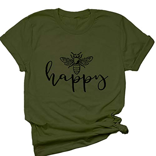 (Beopjesk Womens Be Happy Graphic Tees Casual Short Sleeve Round T-Shirts Blouse Tops (L, Green))