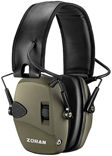 Electronic Shooting Ear Protection Muff | ZOHAN Sound Amplification Noise Reduction Hunting Earmuff - NRR 22dB -OD Green