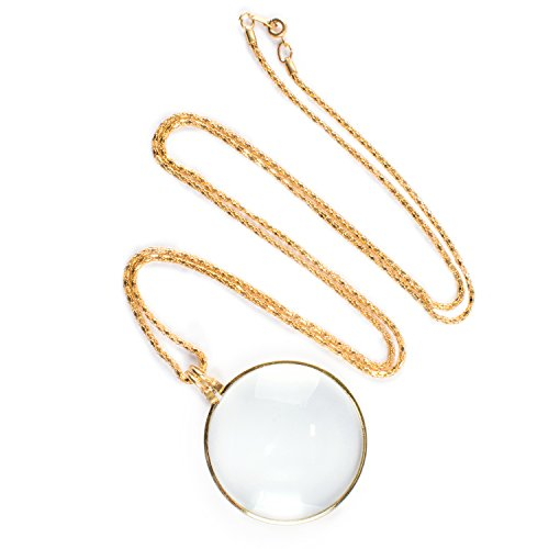 Necklace with 1-3/4 Inch Optical Magnifier Lens and 36-Inch Gold Chain for Library, Reading Fine Print, Zooming, Increase Vision, Jewelry -