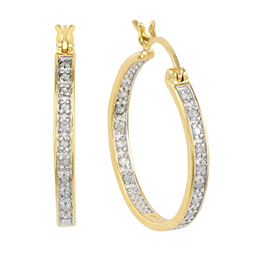 JewelExclusive Sterling Silver 1/4cttw Natural Round-Cut Diamond (J-K Color, I2-I3 Clarity) Inside Out Click Top Hoop Two Tone Earring