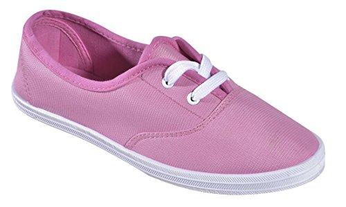 Cambridge Select Femmes Fermé Bout Rond Deux Œillets Lacets Plat Plimsoll Mode Sneaker Rose