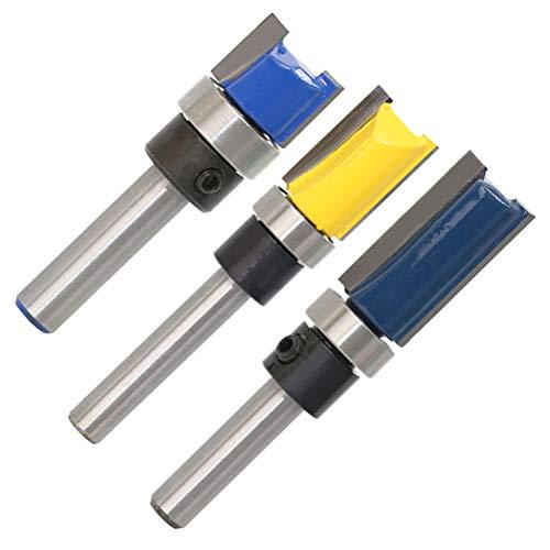 QLOUNI 3pcs Router Bit Set Double Straight Flute Flush Trim 1/4 Inch Shank Trim Bit Template Cutter 1/2