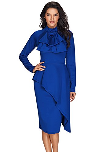 c6aa2d1abb4f XAKALAKA Vintage Bowknot Peplum Business Cocktail Bodycon Dress Royal Blue S