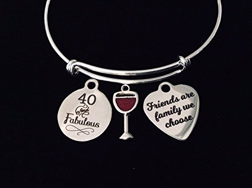 40th Birthday Jewelry Friends are family we Choose Adjustable Bracelet Expandable Silver Bangle Trendy One Size Fits All Gift Forty 40 and Fabulous Personalization Custom Options Available
