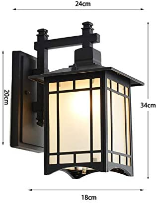 Außenlampe Vintage Outdoor Wasserdichte Wandlampe Wandleuchte Aussen-Lampe Laterne Wasserdicht IP65 Schwarz Aluminium Außenleuchte Glas Lampenschirm E27 1-Flammig Beleuchtung Außenwandleuchten