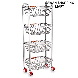 Stainless Steel Assembled 4 Layer Kitchen Trolley Rack for Storage Vegetable Utensil (Silver)