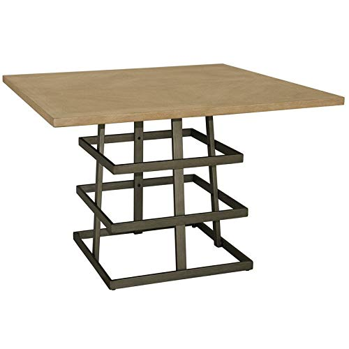 Home Fare Square Pedestal Wood and Metal Dining Table ()