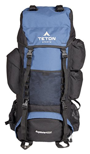 TETON Sports Explorer 4000 Internal Frame Backpack; High-Performance Backpack for Backpacking, Hiking, Camping; Navy Blue
