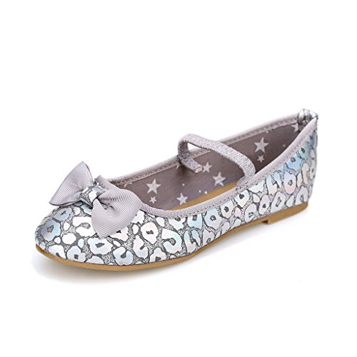 Hawkwell Mary Jane Bow Ballerina Flat (Toddler/Little Kid),Grey PU,12 M US (Cheap Kids)