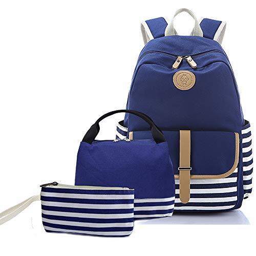 Sqoto Teens Girls Backpack, School Backpack Bookbag Travel Daypack Shoulder Bag Laptop Bag Fashion Rucksack College Bookbag (BlueStriped-3pcs)