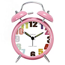 Foyou 4 Inch Silent Metal Twin Bell Clock with Nightlight and Loud Alarm for Heavy Sleepers, Quartz Movement (Pink)
