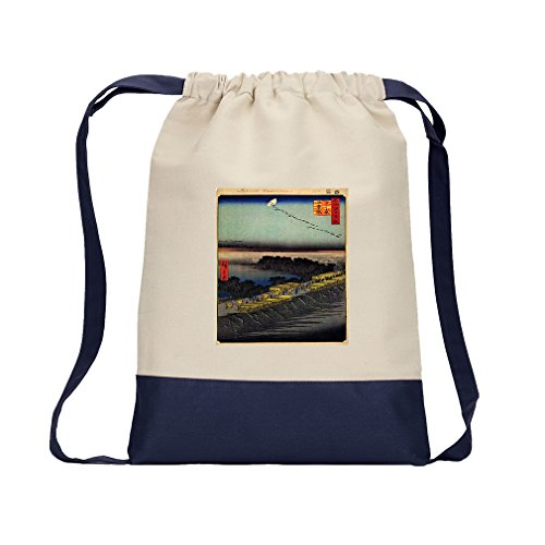 Nihonbashi Bridge (Hiroshige) Canvas Backpack Color Drawstring Bag - (Nihonbashi Bridge)