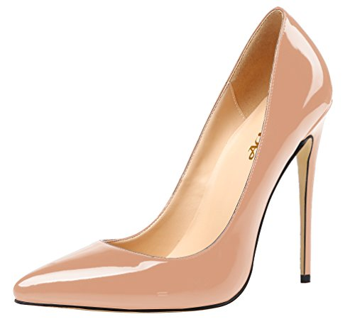 Women Patent Leather Pointed High-heeled Shoes Nude - 5