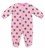 Fleece Baby Onesie Sleepsuits (Boys / Girls) (0-3 months, Large Pink Brown Spot)