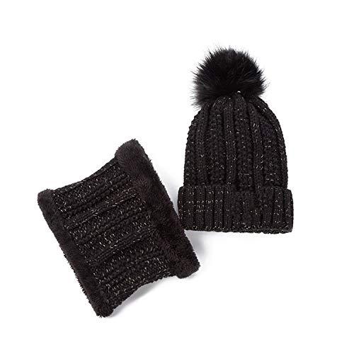 Winter Hat Lined Beanies Cap+Neck Warmer/B Letter Skullies Beanie Hat Female Pompom Knitted Hat,Black ()