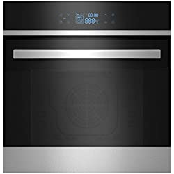 Empava KQC65B-21-220V Black Tempered Glass Led Digital Touch Controls Electric Built-In Single Wall Oven