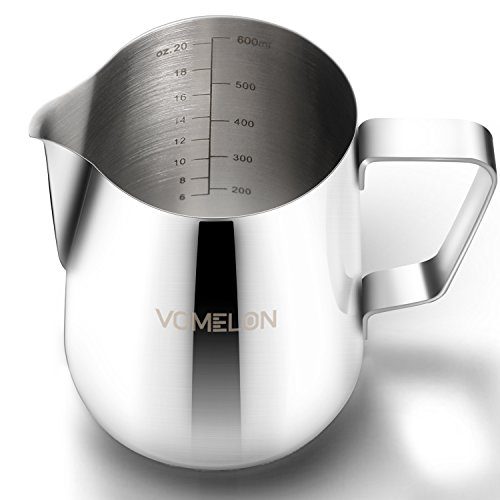 20 Oz Millk Frothering Pitcher Jug, Latte Art Milk Steaming Pitcher,Stainless Steel Frother Cup Latte Coffee Pitcher for…