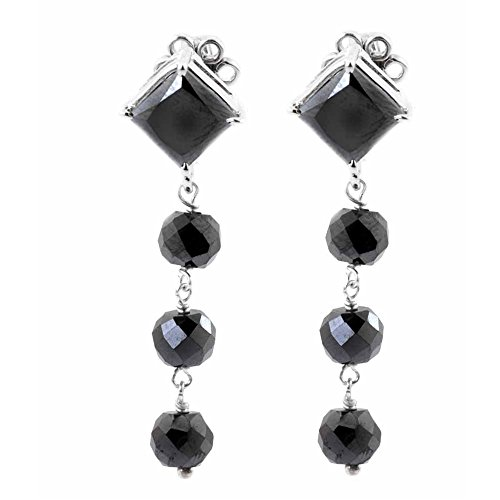 35ct Ring (skyjewels 35 Ct Princess and Round Shape Black Diamond Dangler Earring in Sterling)