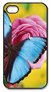 Blue Butterfly DIY Hard Shell Black iphone 4/4s Case Perfect By Custom Service