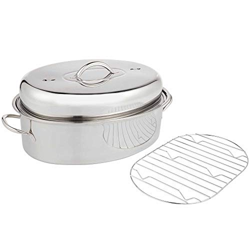 VonShef Stainless Steel Lidded Roasting Pan, Lightweight Roaster – Extra Large Dish for Chicken/Turkey / Meat Joints & Vegetables, 9.5 Quart Capacity