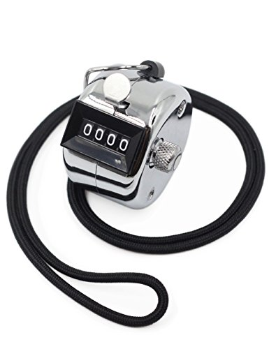 Amble Tally Clicker Counter, Metal Case Mechanical Clicker Digital Handheld Tally Counter with Nylon (Handheld Wrist Lanyard)