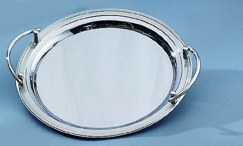Stainless Steel Round Tray with Handles - Round Stainless Steel Serving Tray