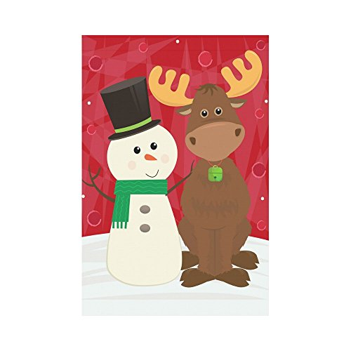 InterestPrint Cute Snowman and Moose Polyester Garden Flag House Banner 12 x 18 inch, Winter Christmas Theme Decorative Flag for Party Yard Home Outdoor Decor