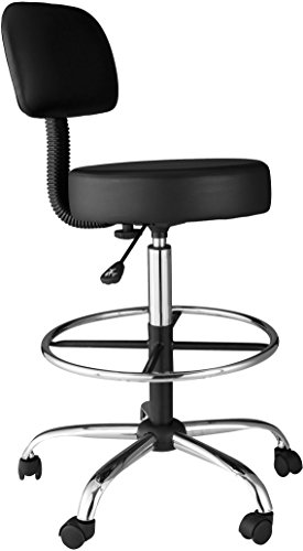 OneSpace Medical/Drafting Stool with Back Cushion, Black - High Back Drafting Stools
