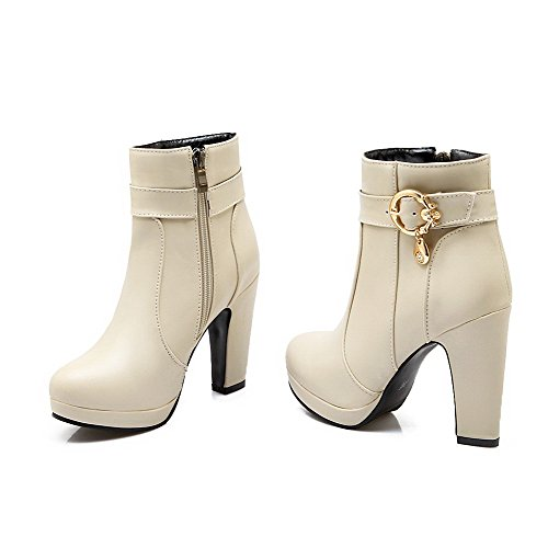 Solid PU AgooLar Heels Low Beige Top Boots Zipper High Women's wAXXqIT