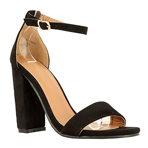 Image of Guilty Heart | Womens Comfort Open Toe Ankle Strap Chunky Block High Heel | Sexy Dress Formal Party Sandal