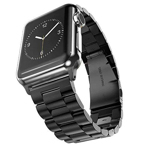 Fwheel Compatible With Apple Watch Band 42mm,Stainless Steel Replacement Smart Watch Band Bracelet with Double Button Folding Clasp Compatible With Apple Watch Series 1,2,3,4,Sport,Edition(Black 42mm)
