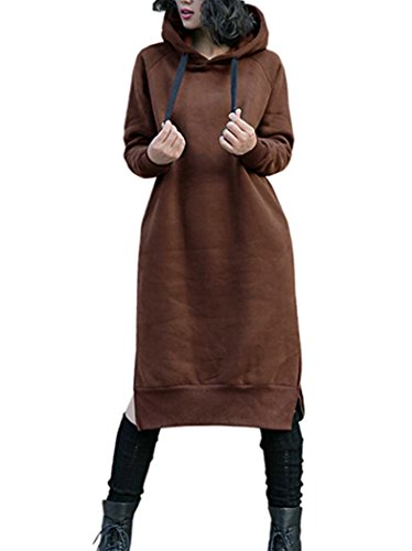 NUTEXROL Women's Thickening Long Fleece Sweatshirt String Hoodie Dress Pullover Plus Size Brown