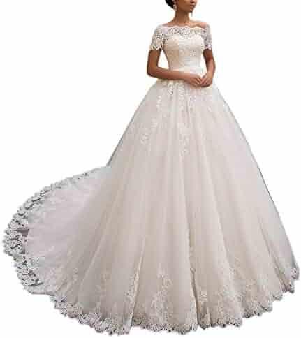 25511b991c6e FJMM Womens Glamorous Bateau A-line Wedding Dresses Short Sleeves Lace  Tulle Bridal Gowns