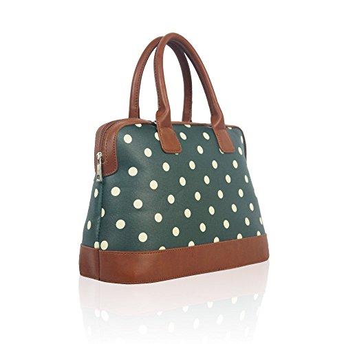 Dot Polka Green Ladies Oilcloth Fashion Matte Handbag Tote Spotty Stylish rSr5wdq
