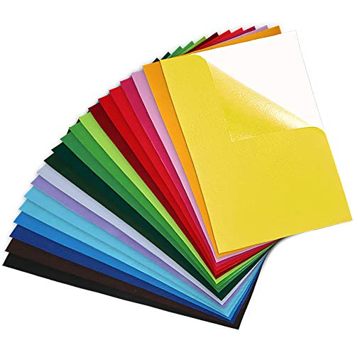 Caydo 20 Pieces Craft Adhesive Back Felt Sheets in 20 Colors Multi-Purpose for DIY Art and Craft Making (Sticky Sheets)