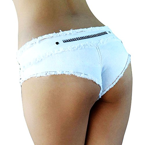 Lovinus Women's Sexy Booty Cut Off Low Waist Denim Short Pants-   White Medium (Mini Booty Shorts Women)