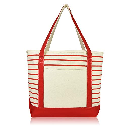DALIX Medium Stripe Tote Deluxe Shoulder Bag Cotton Canvas in Red