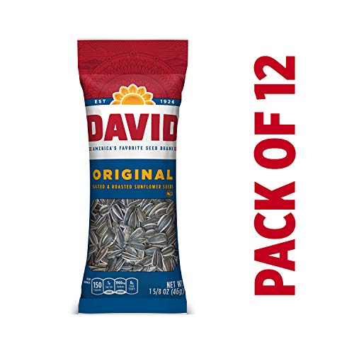 DAVID Roasted and Salted Original Sunflower Seeds, 1.625 Ounce, Pack of 12