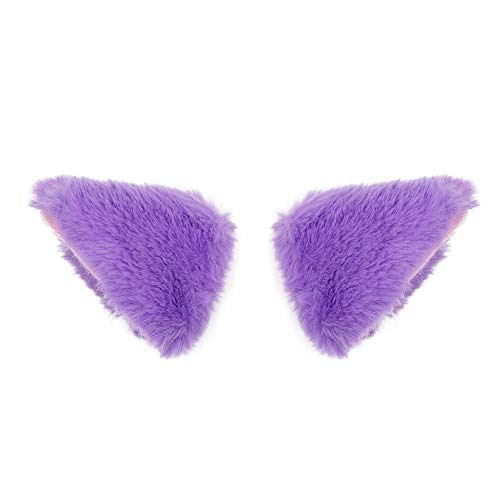 BAOBAO Cat Fox Long Fur Ears Hair Clip Headwear Cosplay Halloween Costume (Light Purple) -