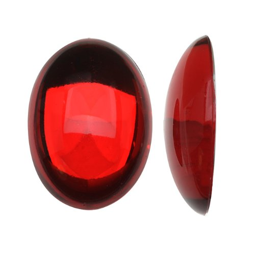 (Beadaholique Vintage Lucite Plastic Oval Domed Cabochon - Ruby Red/Foiled 18x25mm (6))