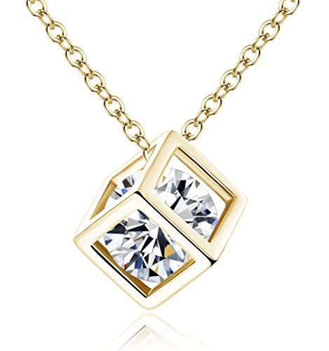 18K White/Rose Gold GP Bridal Cube Necklace Crystal Gemstone Necklace Pendant for Women S1004-N