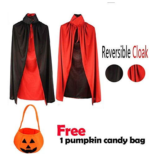 Halloween Adult/Child Ladies Double Layer Black and Red Reversible Vampire Cape COS Set ((55 Adult) 1 Piece)