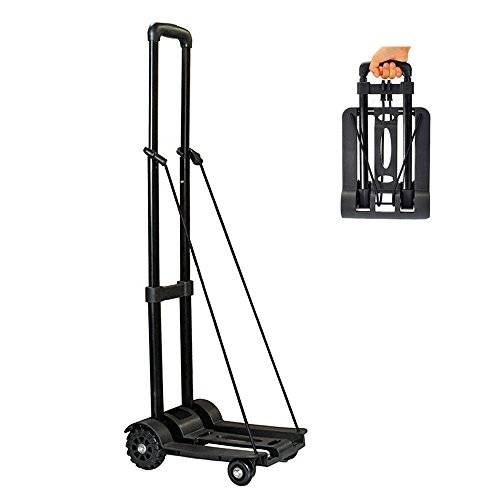 Wincspace Lightweight Folding Hand Cart Dolly Fold Up Hand Truck Portable Utility Moving Shopping Cart(4wheel/165lbs) (4 wheel) (Dolly Utility Folding)