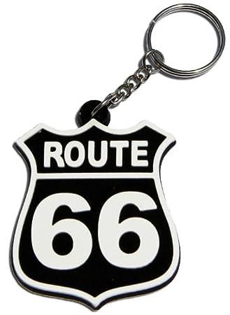 Ruta 66 Biker llavero Key Ring Caucho Goma Keyring también como colgante para funda
