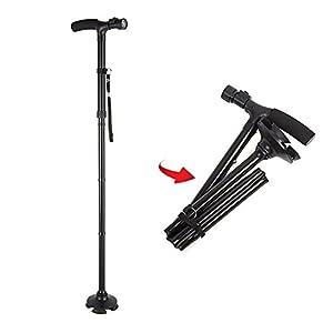 Awayyang Folding Walking Cane with LED Light, Adjustable Walking Stick with Carrying Bag For Men / Women