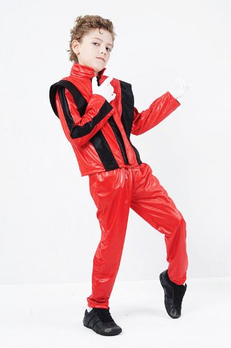 Childrens Superstar Fancy Dress Costume Michael Jackson Thriller Outfit 4-6 Yrs