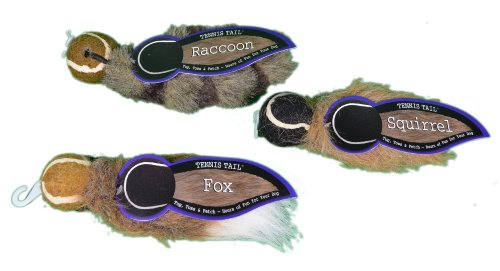 Tennis Tail Raccoon (Set of 3 Tennis Tail Raccoon Squirrel and Fox Plush Dog Toys)