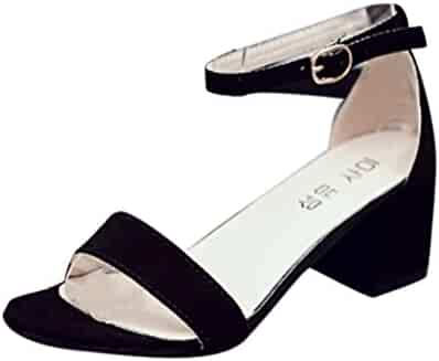 a42cb9b15 Women Single Band Chunky Heel Sandal With Ankle Strap Summer Sandals Shoes  Ankle Strap Peep Toe