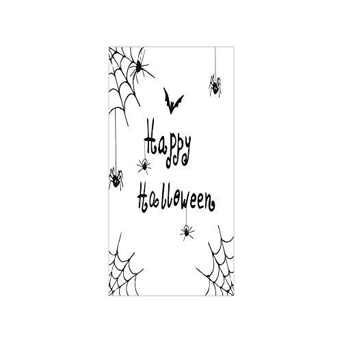 Decorative Privacy Window Film/Happy Halloween Celebration Monochrome Hand Drawn Style Creepy Doodle Artwork/No-Glue Self Static Cling for Home Bedroom Bathroom Kitchen Office Decor Black White